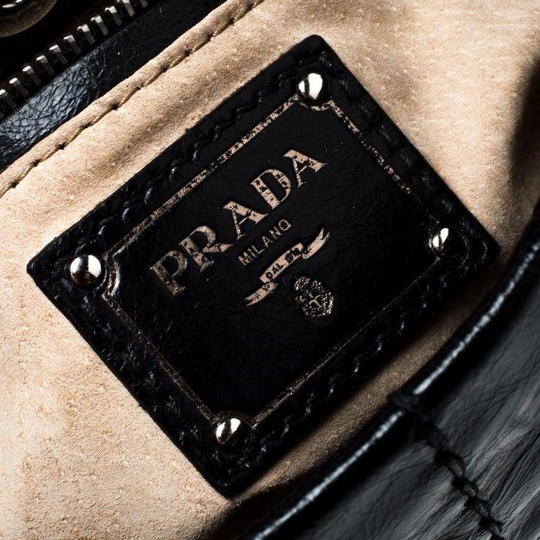 Prada Black Vitello Shine Leather Fringe Shoulder Bag For Sale 4