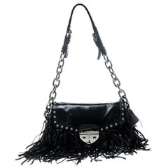 Prada Black Vitello Shine Leather Fringe Shoulder Bag