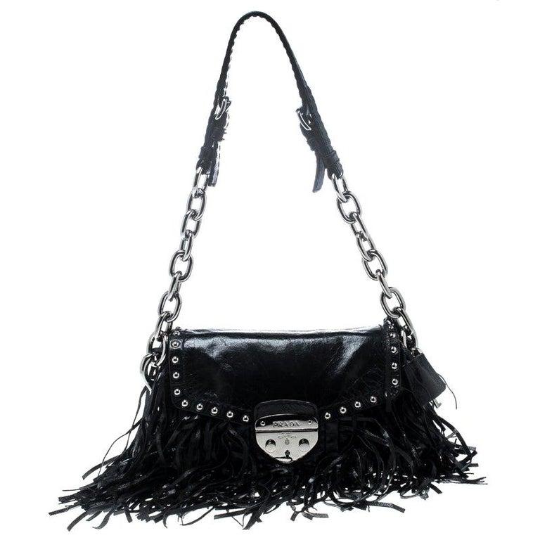 Prada Black Vitello Shine Leather Fringe Shoulder Bag For Sale