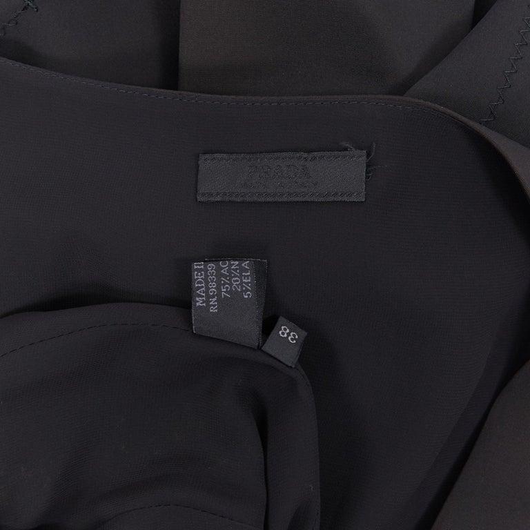PRADA black whipstitch seam flapped hem midi cocktail dress IT38 XS For Sale 5