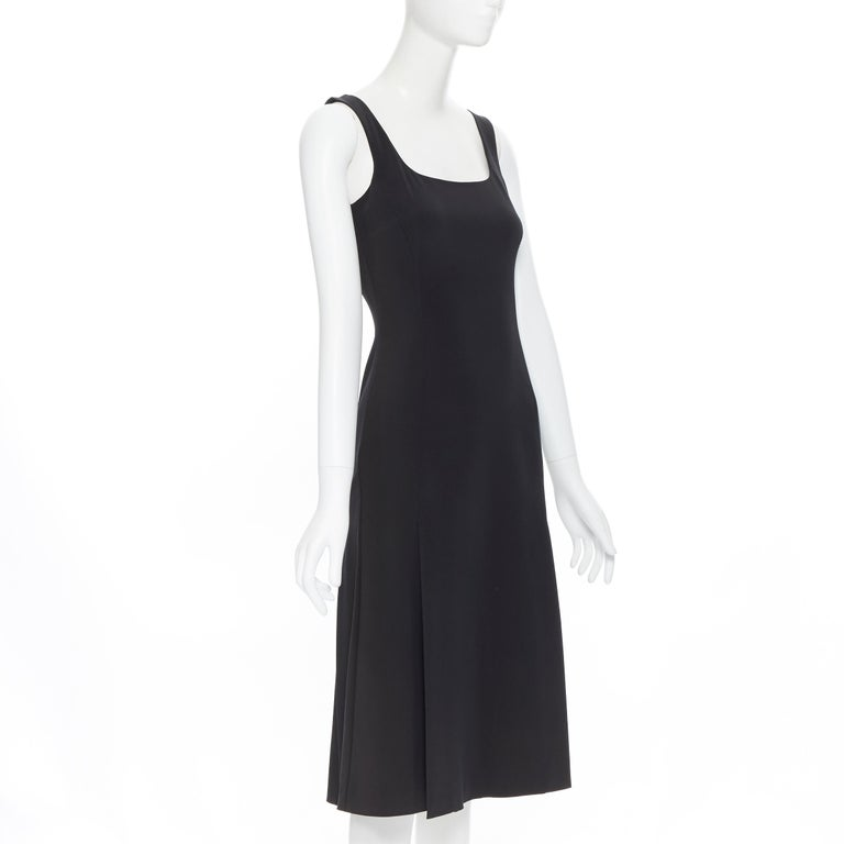 PRADA black whipstitch seam flapped hem midi cocktail dress IT38 XS In Excellent Condition For Sale In Hong Kong, NT