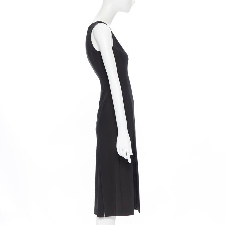 Women's PRADA black whipstitch seam flapped hem midi cocktail dress IT38 XS For Sale