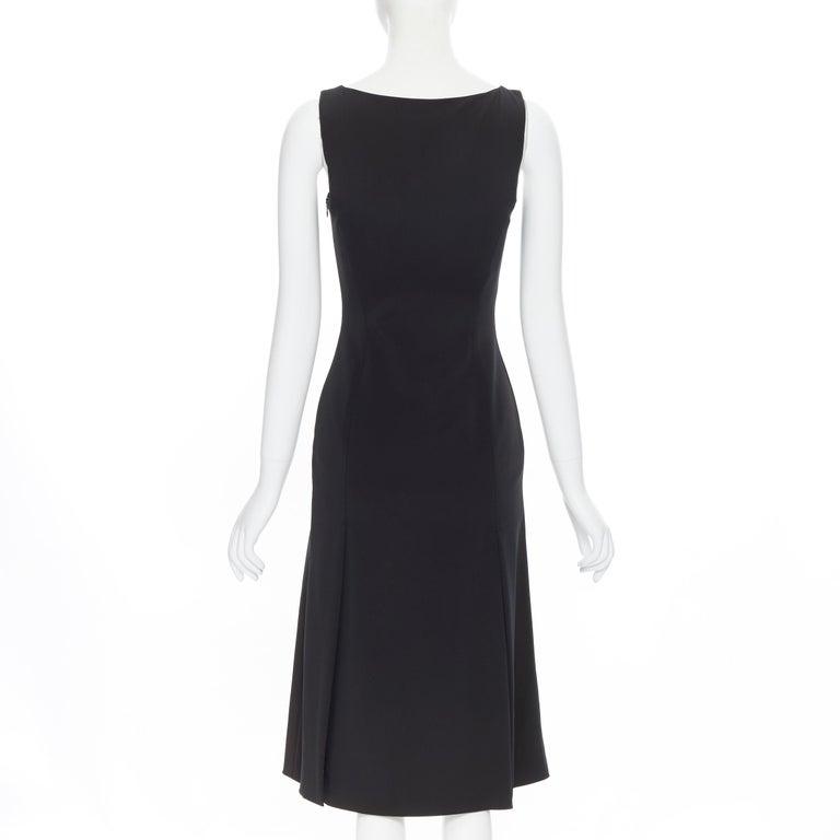 PRADA black whipstitch seam flapped hem midi cocktail dress IT38 XS For Sale 1