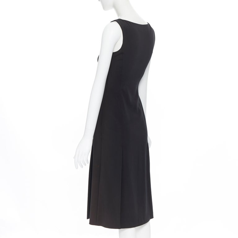 PRADA black whipstitch seam flapped hem midi cocktail dress IT38 XS For Sale 2