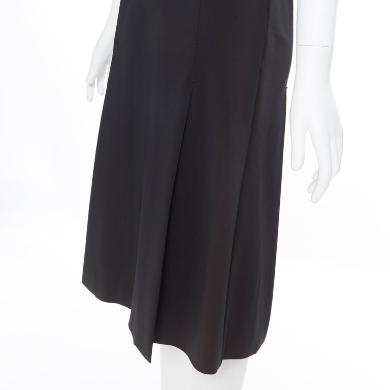 PRADA black whipstitch seam flapped hem midi cocktail dress IT38 XS For Sale 4
