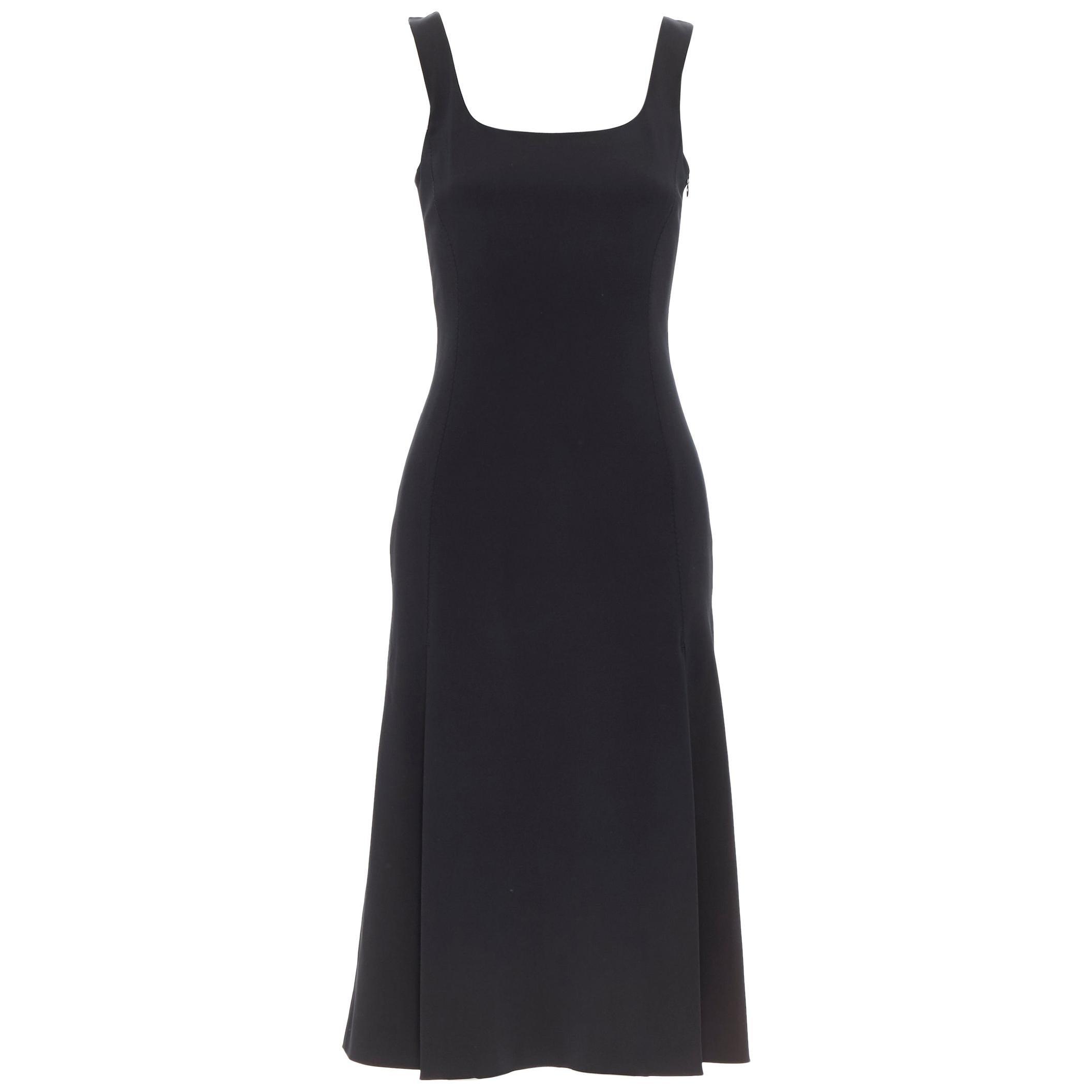 PRADA black whipstitch seam flapped hem midi cocktail dress IT38 XS