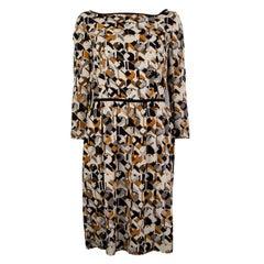 PRADA black white ochre silk GEOMETRIC 3/4 Sleeve Cocktail Dress 40