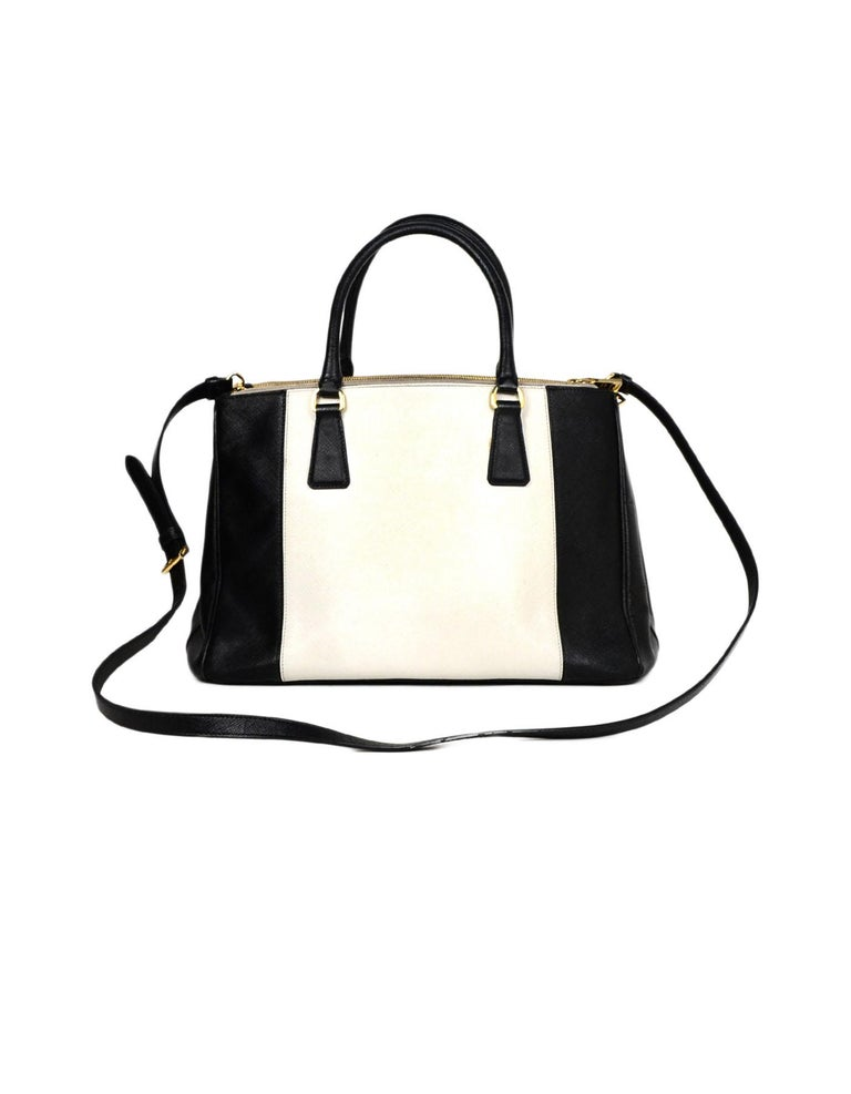 bd7f2e823fdf Prada Black   White Saffiano Leather Medium Double Zip Tote B2274C rt   2