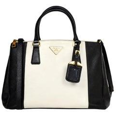 Prada Black & White Saffiano Leather Medium Double Zip Tote B2274C rt $2,350