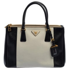 Prada Black/White Saffiano Lux Leather Medium Galleria Tote