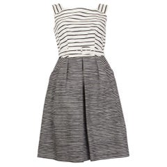 PRADA black & white silk STRIPED Sleeveless Dress 38