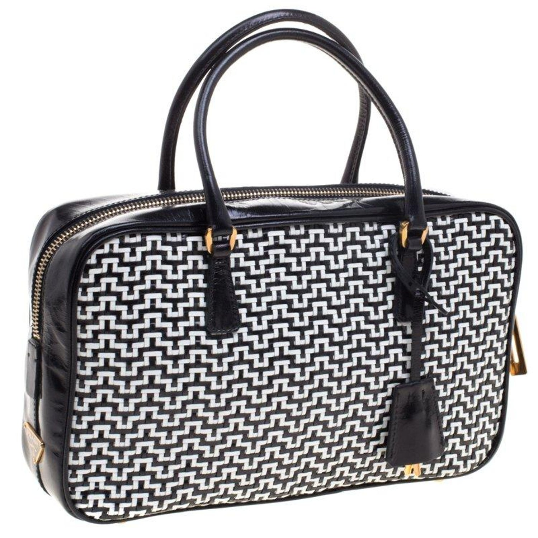 9dcc967bd36b Prada Black White Woven Leather Bowler Bag For Sale at 1stdibs