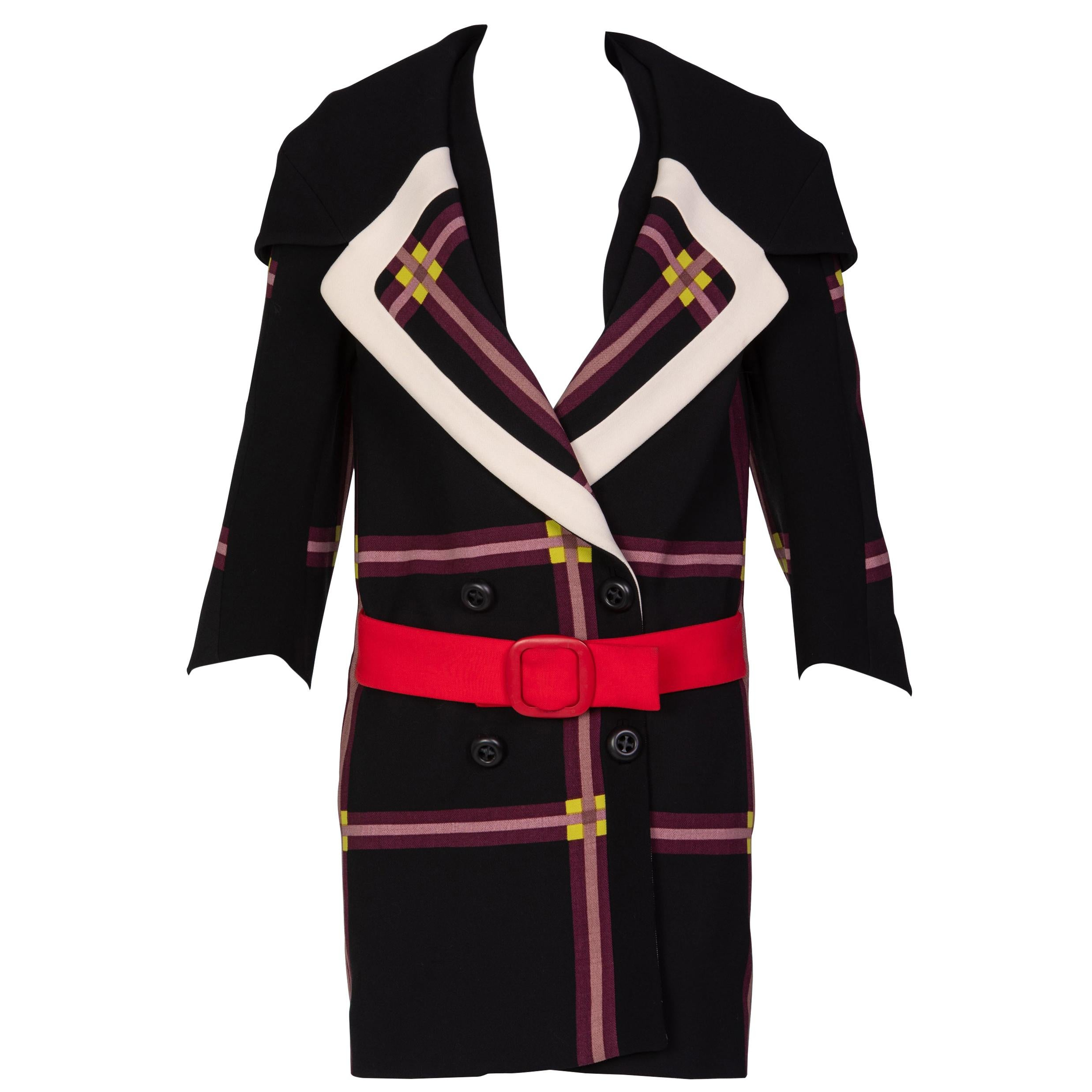 Prada Black Window Pane Wool Coat w/ Red Belt Runway, 2011