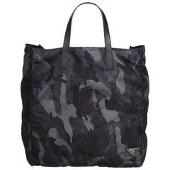 Prada Black  with Multi Nylon Fabric Camouflage Tote Bag France w/ Dust Bag