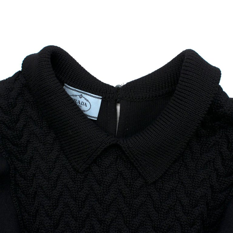 Prada Black Wool-blend Knit Dress US 8 For Sale 1