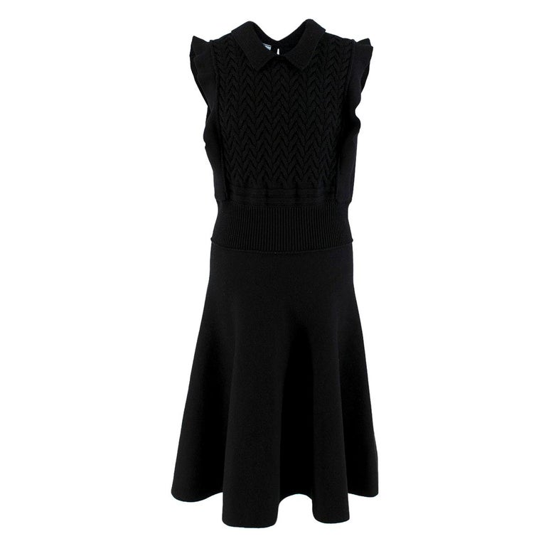 Prada Black Wool-blend Knit Dress US 8 For Sale