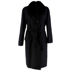 Prada Black Wool Cashmere & Angora Blend Mink Fur Collar Coat - Size US 0-2