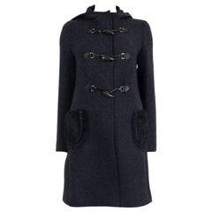 PRADA black wool FUR POCKETS DUFFLE Coat Jacket 42 M