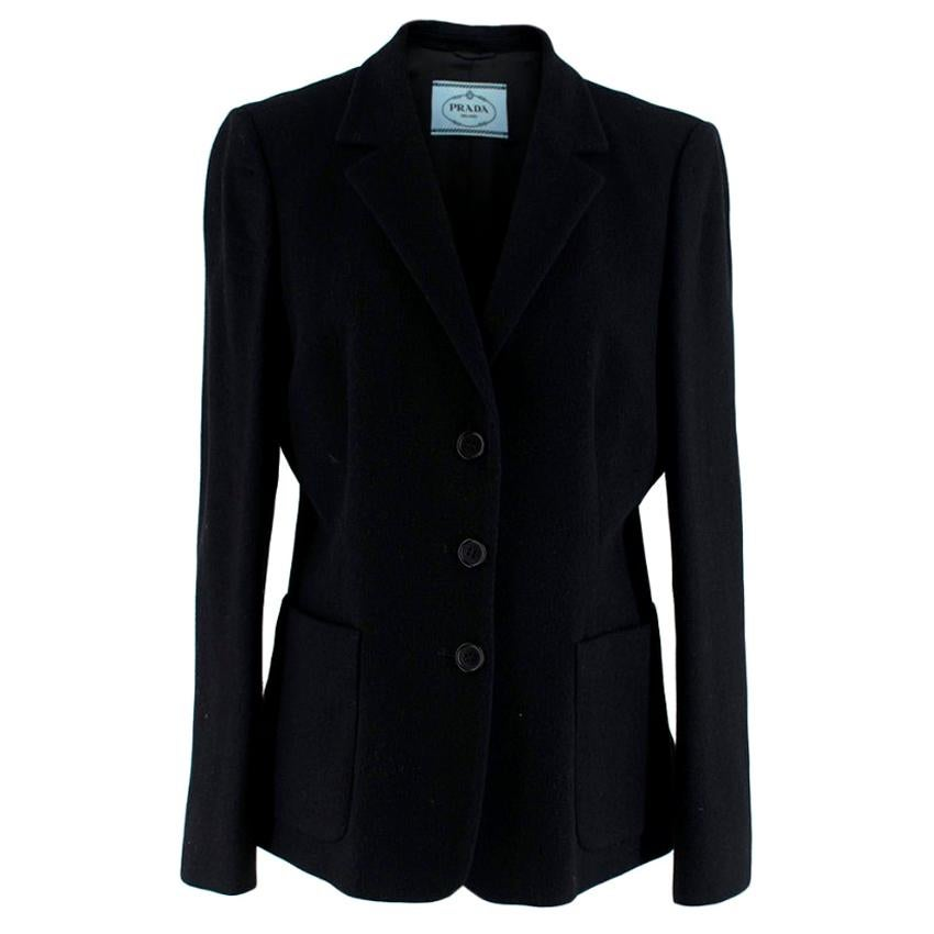 Prada Black Wool Single-Breasted Button Down Jacket - Size 12
