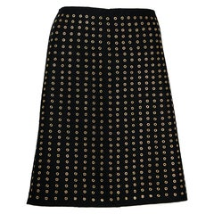 Prada Black Wool Skirt with Gold Grommets