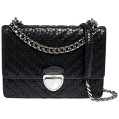 Prada Black Woven Leather Madras Chain Flap Bag