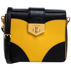 Prada Black/Yellow Saffiano Leather Turn-Lock Shoulder Bag