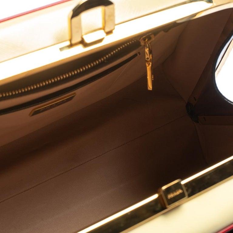 Prada Black/Yellow Saffiano Vernice Leather Pyramid Frame Satchel For Sale 6
