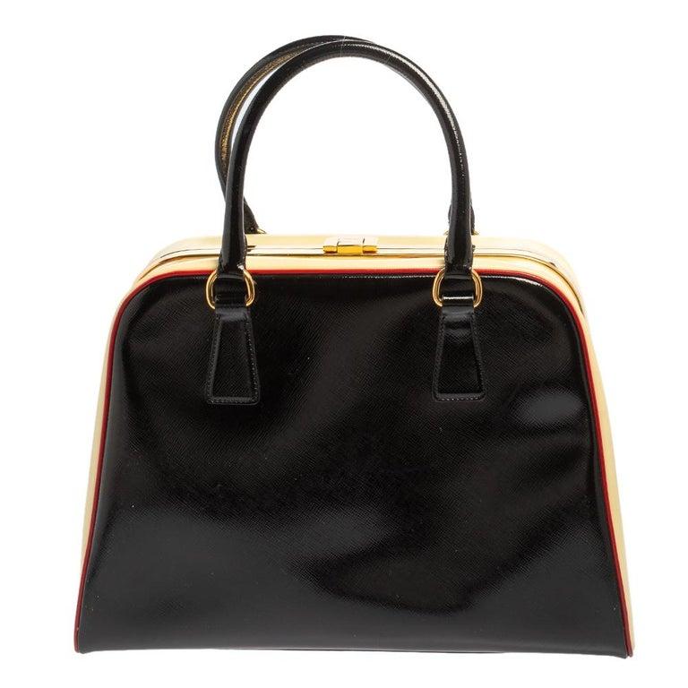 Women's Prada Black/Yellow Saffiano Vernice Leather Pyramid Frame Satchel For Sale