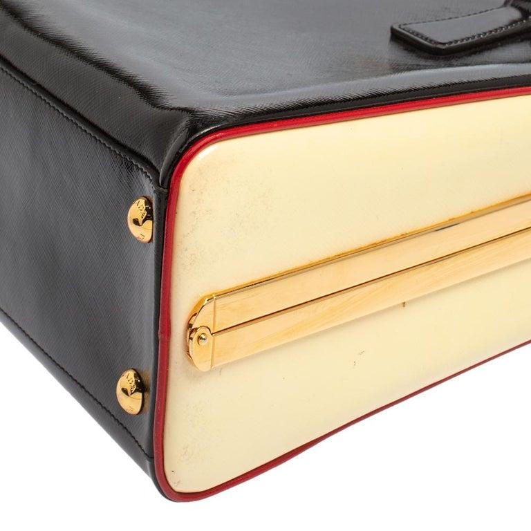 Prada Black/Yellow Saffiano Vernice Leather Pyramid Frame Satchel For Sale 1