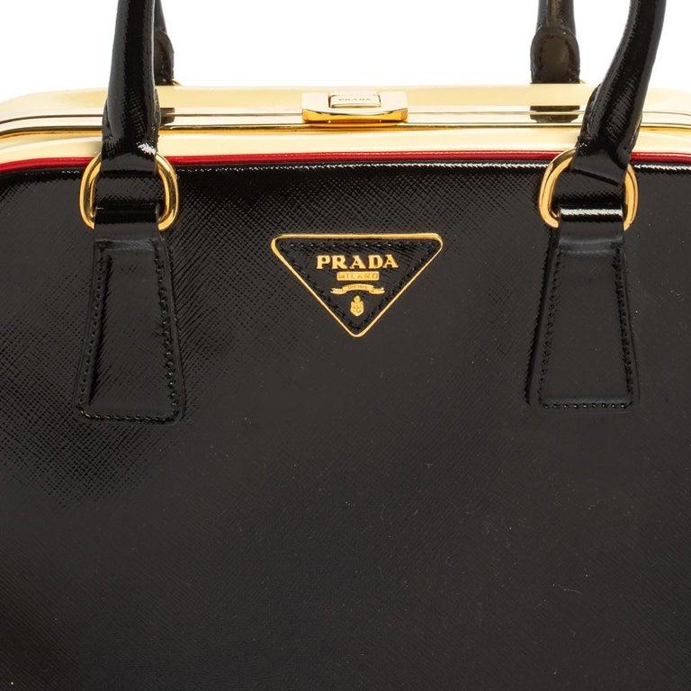 Prada Black/Yellow Saffiano Vernice Leather Pyramid Frame Satchel For Sale 2
