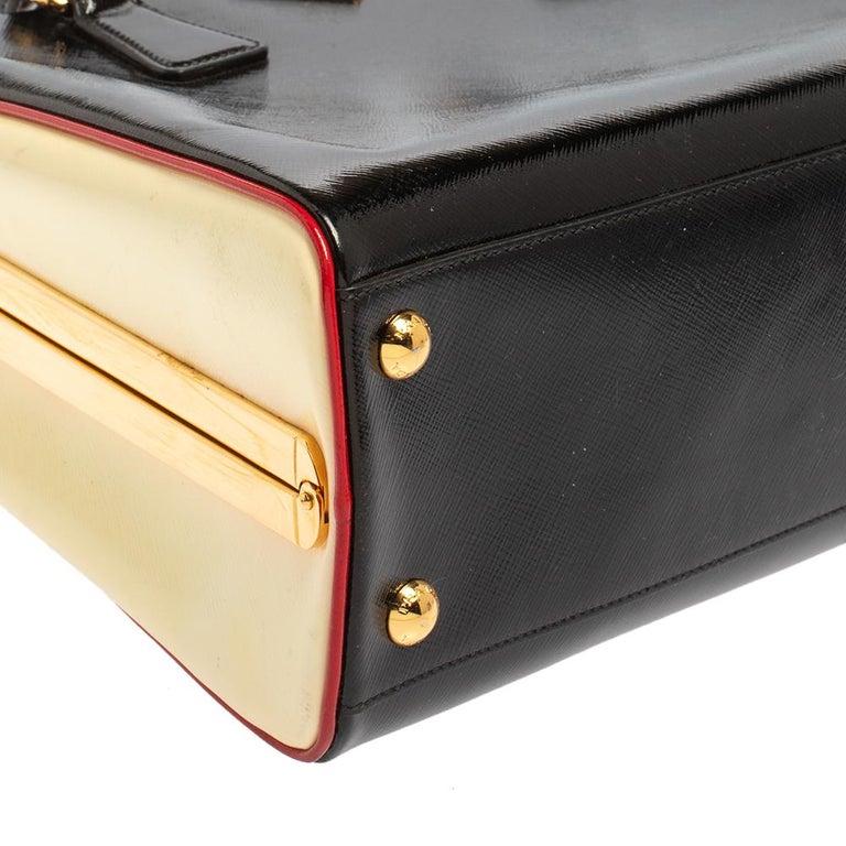 Prada Black/Yellow Saffiano Vernice Leather Pyramid Frame Satchel For Sale 5