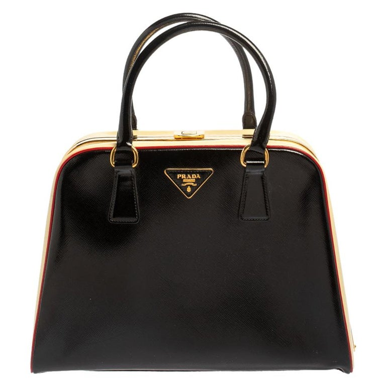 Prada Black/Yellow Saffiano Vernice Leather Pyramid Frame Satchel For Sale