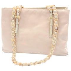 Prada Blonde Nylon Bag With Faux Tortoise Handles Shoulder Straps