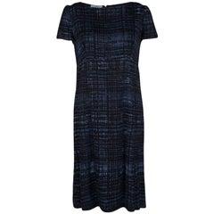 Prada Blue and Black Printed Short Sleeve Sheath Dress M