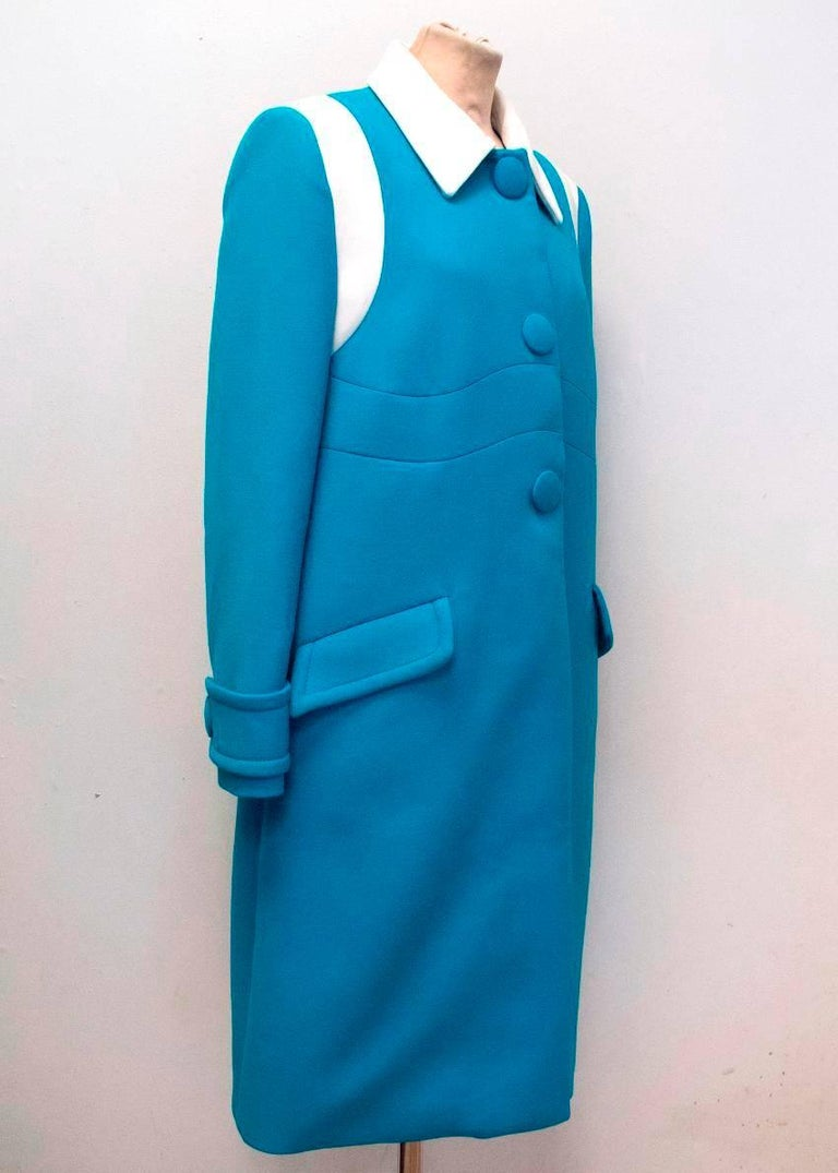 Prada Blue and White Coat Size 10 In Excellent Condition For Sale In London, GB