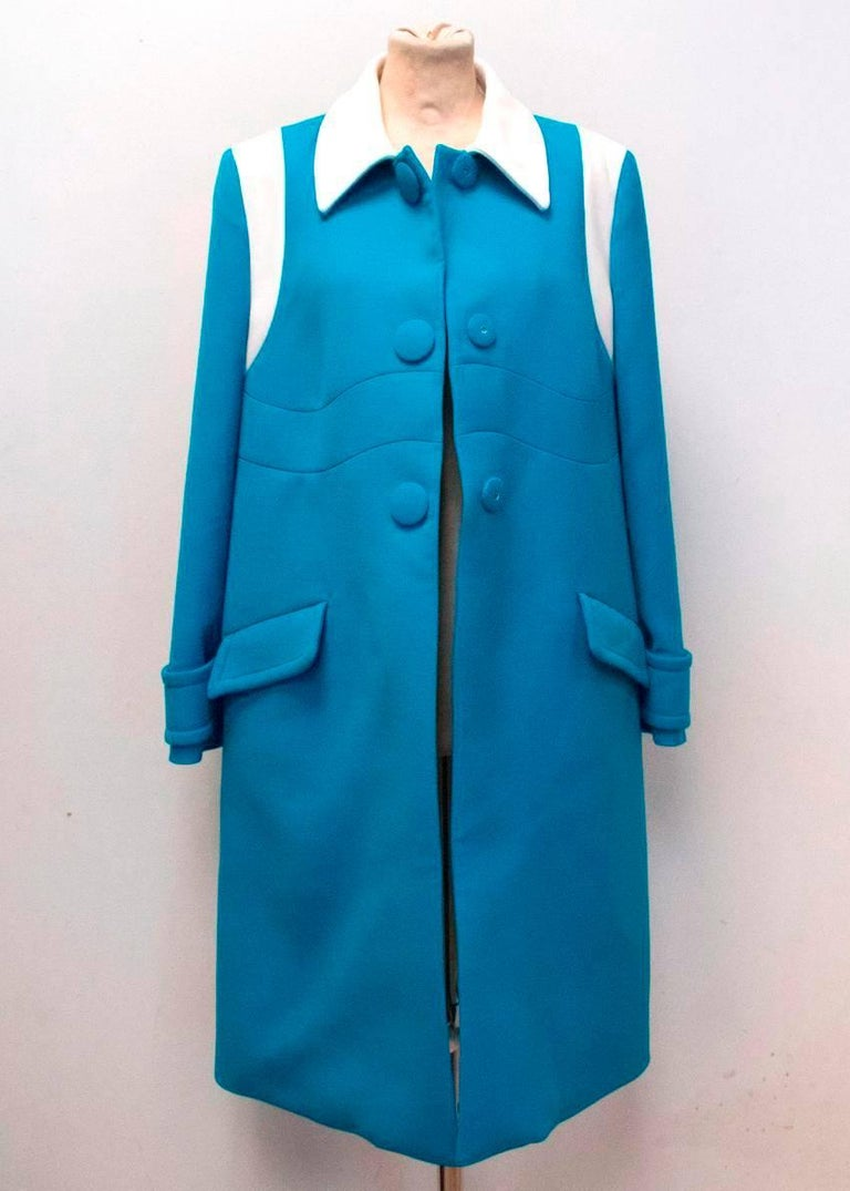 Prada Blue and White Coat Size 10 For Sale 1