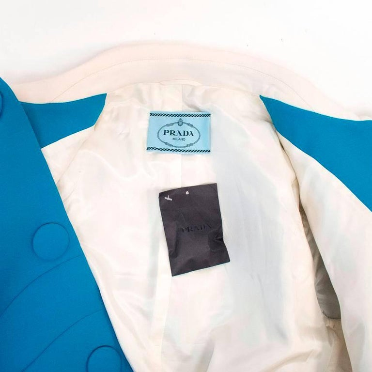 Prada Blue and White Coat Size 10 For Sale 2