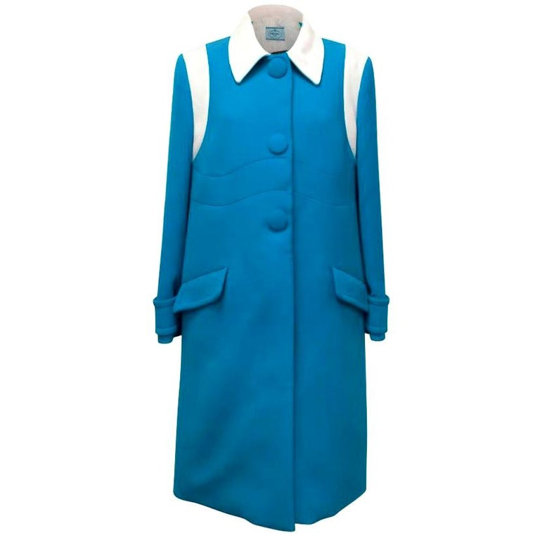 Prada Blue and White Coat Size 10 For Sale