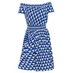 Prada Blue and White Geometric Printed Cotton Off Shoulder Dress M
