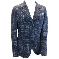 Prada Blue and White Tweed Jacket