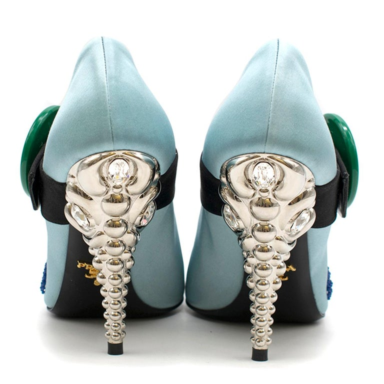 Prada Blue Bead & Button Embellished Satin Pumps SIZE 35.5 In Excellent Condition For Sale In London, GB