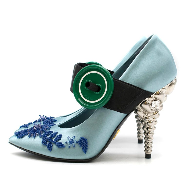 Women's Prada Blue Bead & Button Embellished Satin Pumps SIZE 35.5 For Sale
