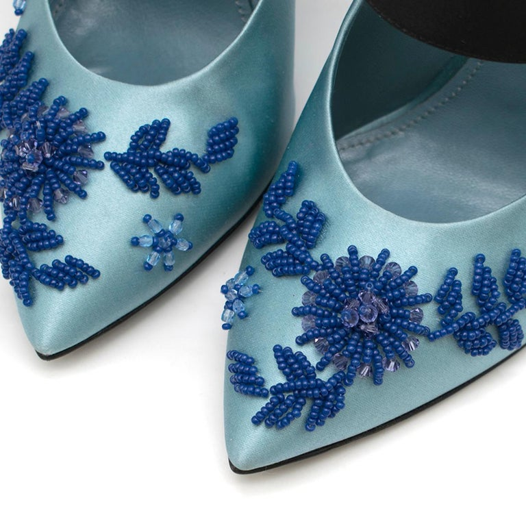Prada Blue Bead & Button Embellished Satin Pumps SIZE 35.5 For Sale 1