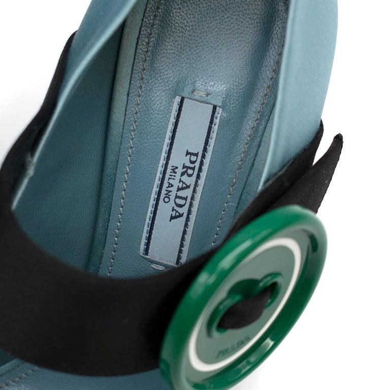 Prada Blue Bead & Button Embellished Satin Pumps SIZE 35.5 For Sale 2