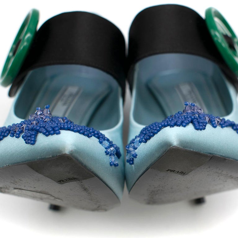 Prada Blue Bead & Button Embellished Satin Pumps SIZE 35.5 For Sale 3