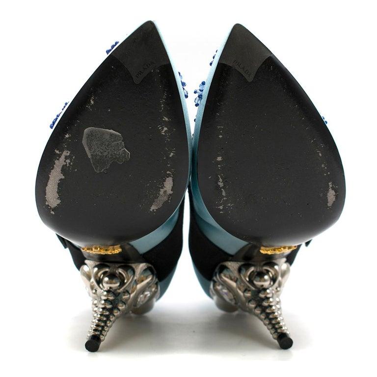 Prada Blue Bead & Button Embellished Satin Pumps SIZE 35.5 For Sale 4