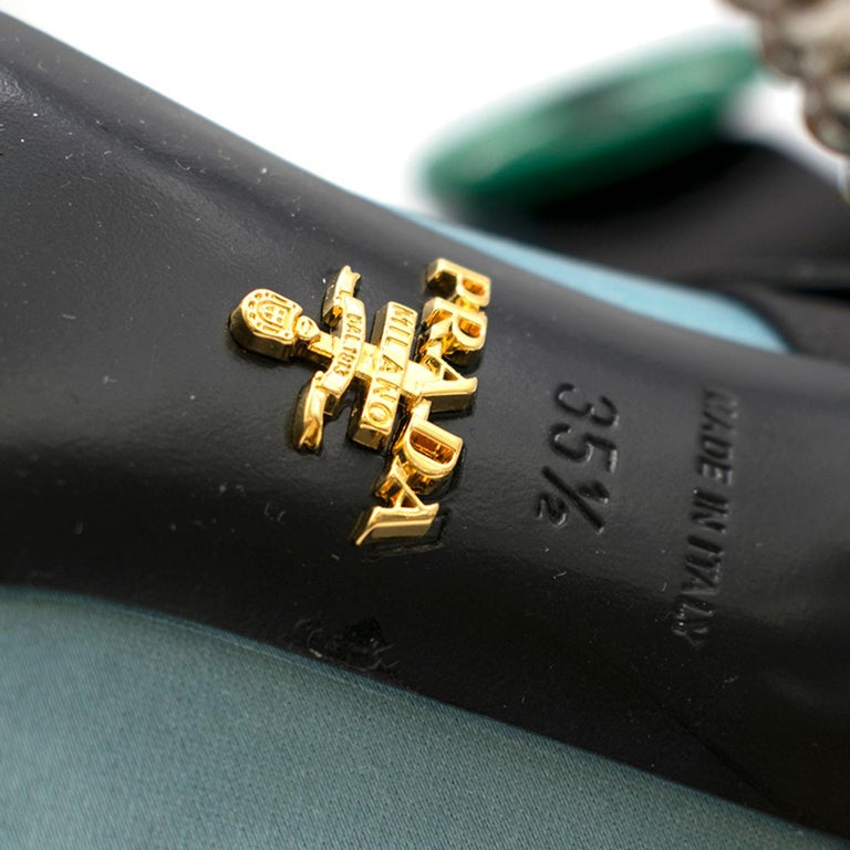 Prada Blue Bead & Button Embellished Satin Pumps SIZE 35.5 For Sale 5