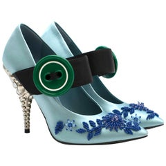 Prada Blue Bead & Button Embellished Satin Pumps SIZE 35.5