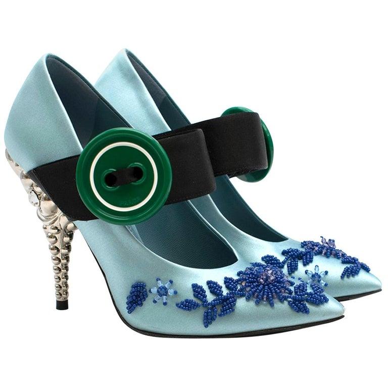 Prada Blue Bead & Button Embellished Satin Pumps SIZE 35.5 For Sale