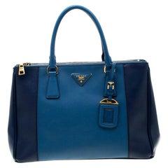 Prada Blue Bicolor Saffiano Lux Leather Medium Double Zip Tote
